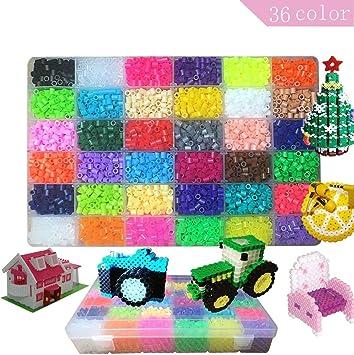 Lote de 10500 pcs Abalorios perlas, de los Granos DIY de Perler Caja de fusibles Conjunto de Perlas de 5 mm Hama Beads,36 Color(Brillar en Oscuridad): Amazon.es: Juguetes y juegos