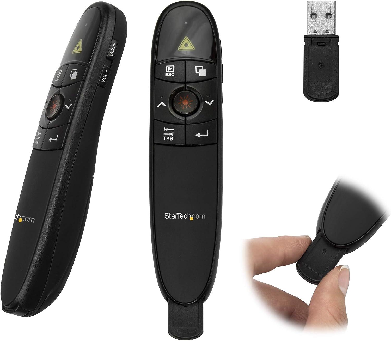 StarTech.com Wireless Presentation Remote with Red Laser Pointer - 90 ft. - PowerPoint Presentation Clicker for Mac & Windows (PRESREMOTE)