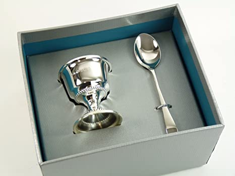 Nueva plata de ley bautizo juego de huevera y cuchara en caja
