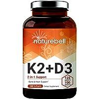 NatureBell Vitamin D3 + K2, 125mcg Vitamin D3 Plus 100mcg Vitamin K2 Per Serving, 180 Softgels, Supports Bone and Heart…