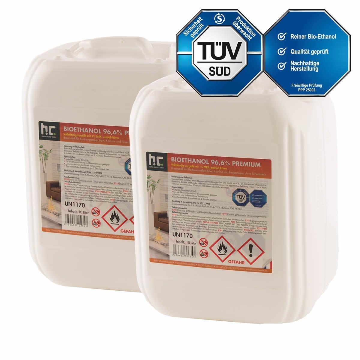 Höfer Chemie 2 x 10 L (20 Liter) Bioethanol 96,6% Premium - TÜV SÜD zertifizierte QUALITÄT - für Ethanol Kamin, Ethanol Feuerstelle, Ethanol Tischfeuer und Bioethanol Kamin Höfer Chemie GmbH
