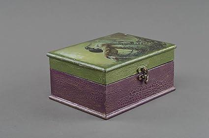 Caja de madera hecha a mano rectangular en tecnica de decoupage para accesorios