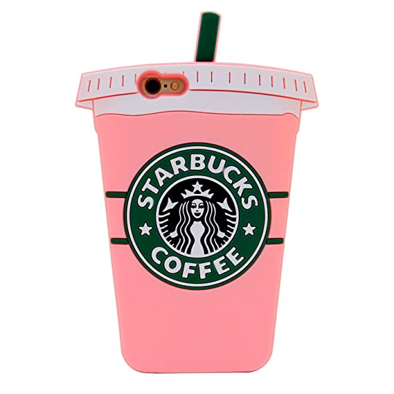 reputable site 290bc fdde6 Soft Silicone Pink Coffee Cup Case for Apple iPhone 6 Plus and 6s Plus  Large Size 5.5 Inches Screen Luxury Designer High Fashion Stylish Fun Cute  ...