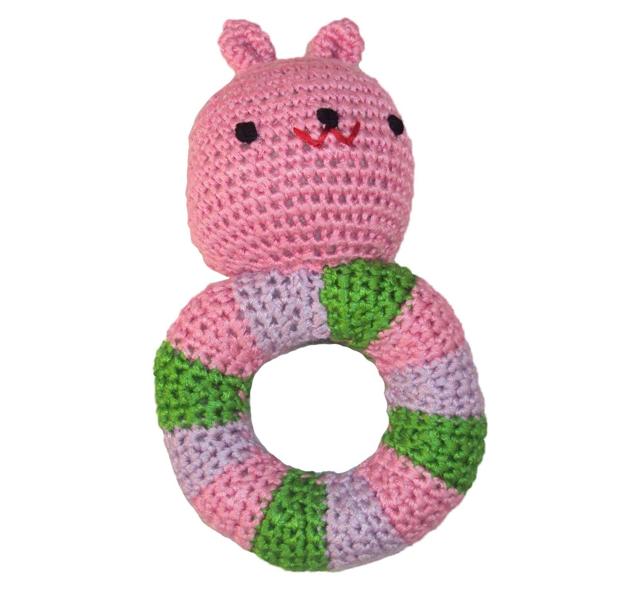 Bunny Baby Rattle Pink - Hand Crocheted, Made of Soft and Silky Yarn - KidStyle by Amikins by Amikins   B00XU03DGA