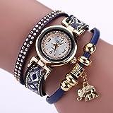 La Cabina Femme Fille Chic Montre Bracelet en Tricotage Bohémien avec Pendentif Eléphant Montre pour Robe (Bleu)