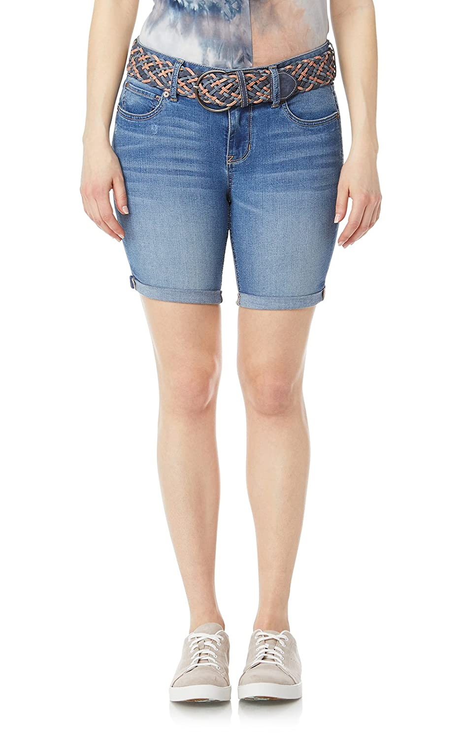 WallFlower Juniors Belted Luscious Curvy Bermuda Denim Short WFJ03588Q