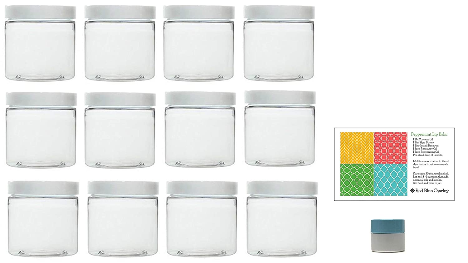 Clear 16 oz Plastic Jars with White Lids 12 pk with Mini Jar – PET Round Refillable Containers