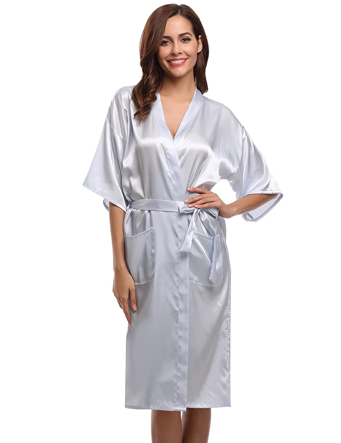 Aibrou Women's Kimono Robe Long Dressing Gowns Classic Satin Wedding Bathrobes Nightwear
