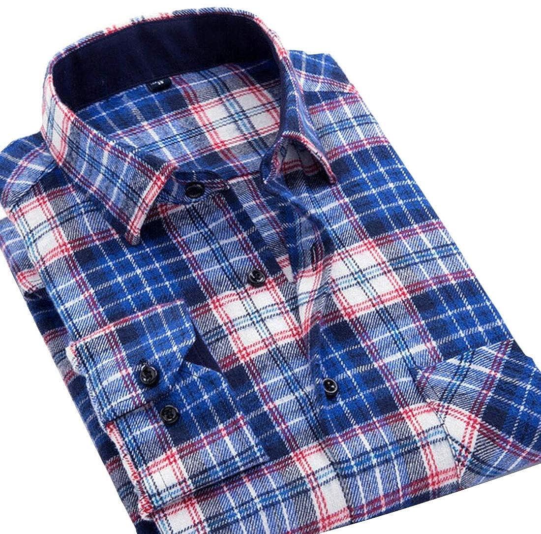 HTOOHTOOH Mens Shirt Casual Slim Flannel Plaid Long Sleeve Button Front Shirts