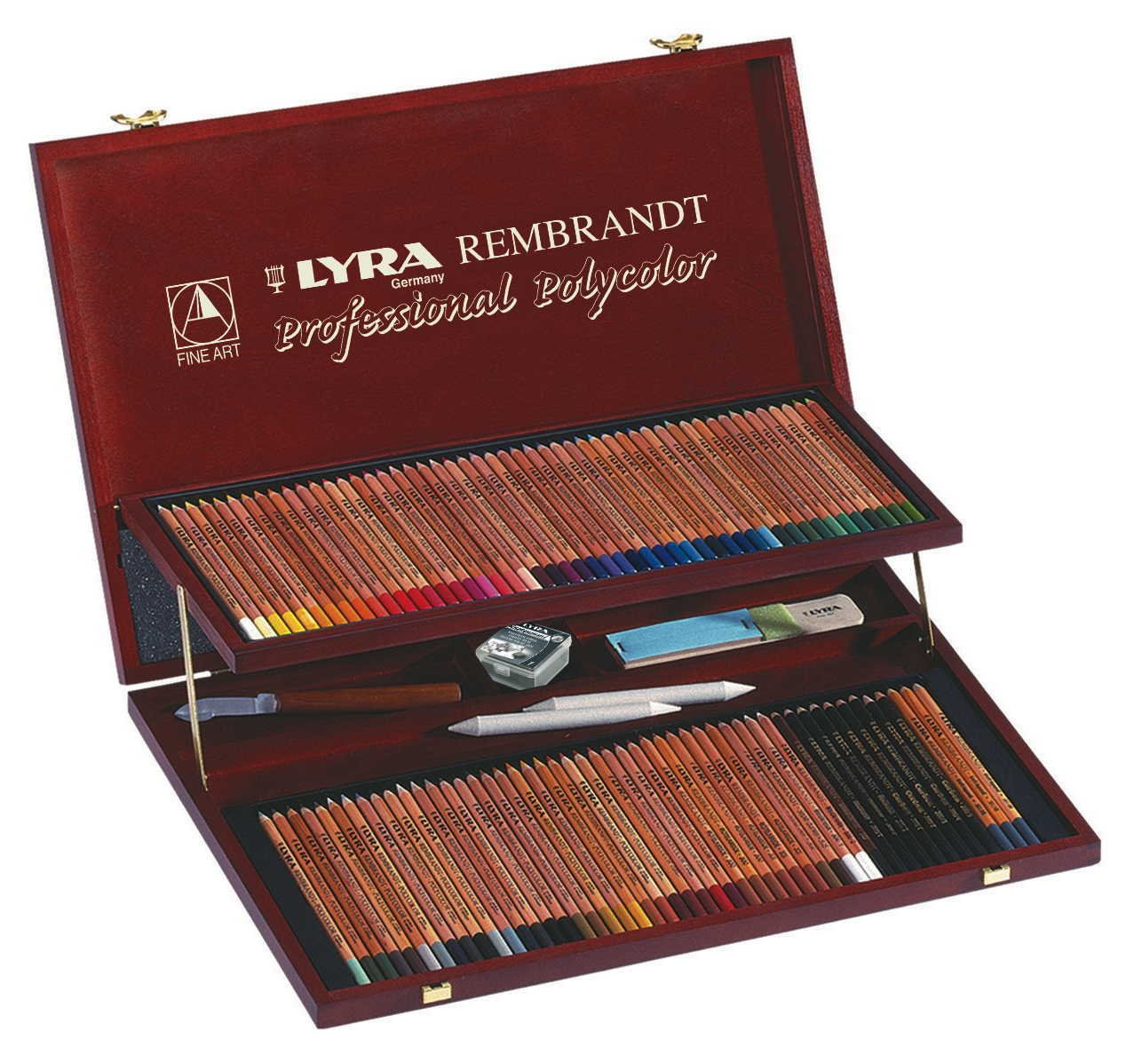 LYRA Rembrandt Polycolor Art Pencils, Set of 100 Pencils Plus Accessories, Assorted Colors (2004200)