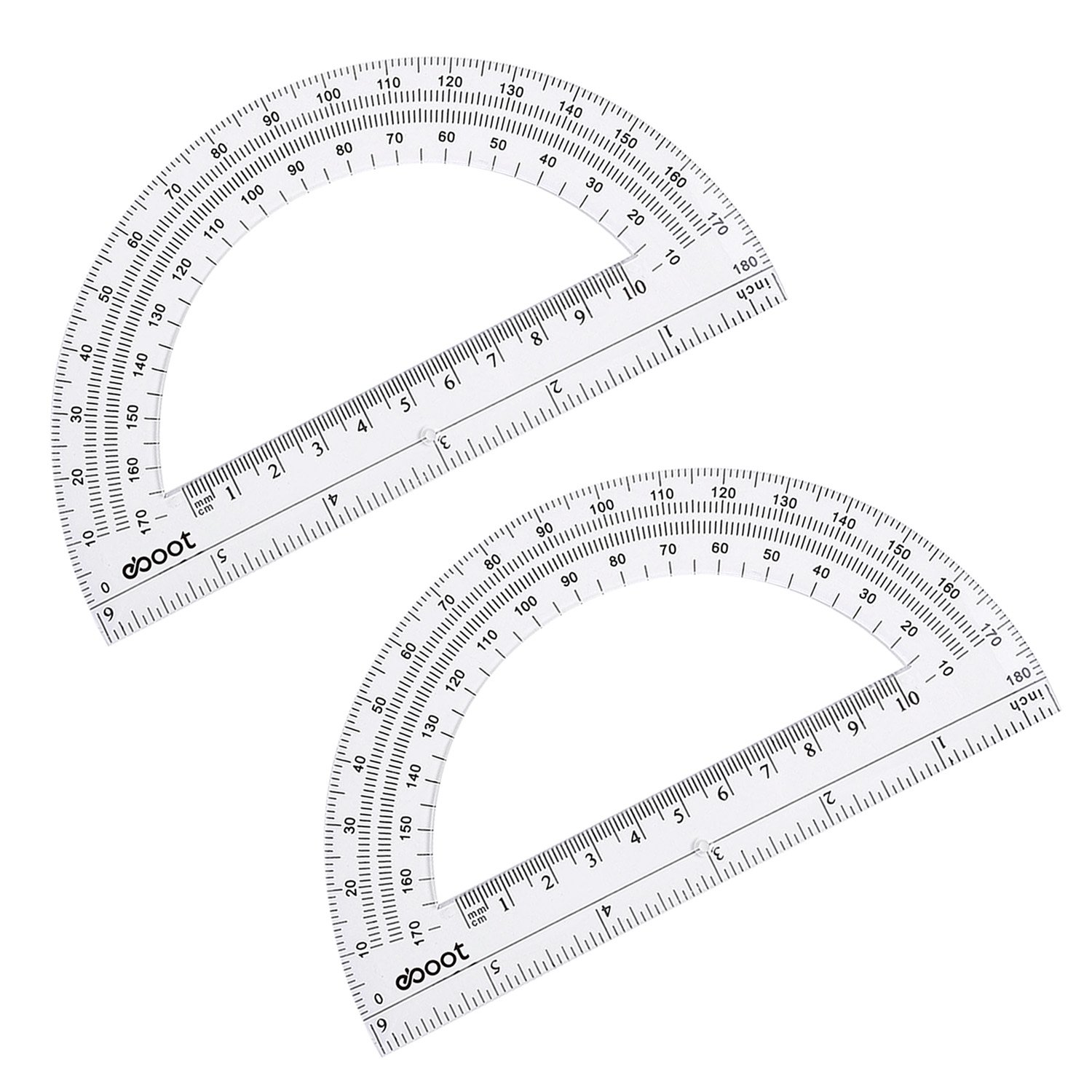 eBoot Plastic Protractor Math Protractors 180 Degrees, 6 Inches, Clear, Pack of 2 by eBoot (Image #4)