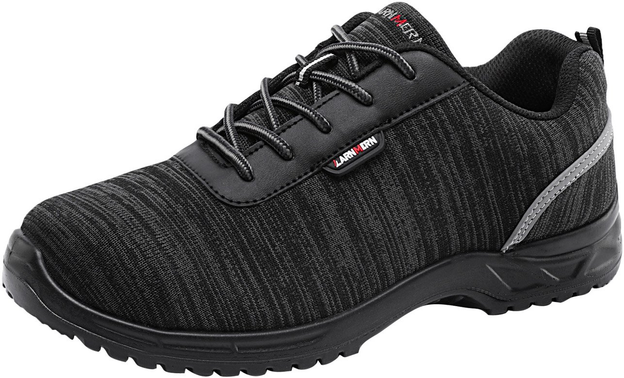 LARNMERN Men's Composite Toe Safety Shoes,LM-313 S1P SRC EH Breathable Lightweight Work Shoes Slip Resistant (8.5 US, Black)