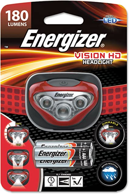Energizer Vision HD 180 Lumens Super Bright Headlight /& 3x AAA Batteries