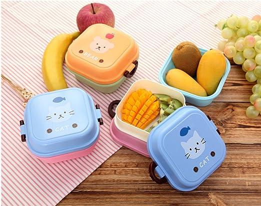 Caja de desayuno para niños Cartoon doble capa cajas caja de Lunch microondas Snack protección del medio ambiente: Amazon.es: Hogar