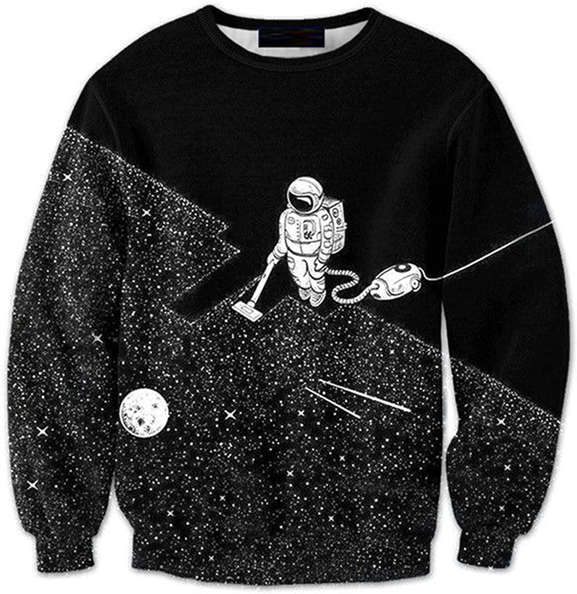 CORIRESHA Coli&Tori Black 3D Outer Space Astronaut Print Long Sleeve Pullover Sweatshirt