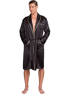 50caf2ffeb2e3 MYK 22 Momme 100% Pure Mulberry Silk Men s Lightweight Kimono Style Spa and Lounge  Robe