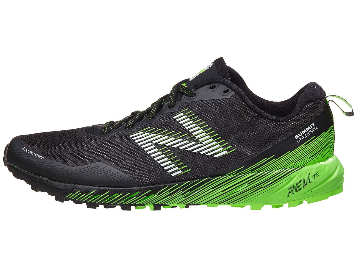 New Balance Men's Summit Unknown Trail Running Shoe, Black/Lime, 7 2E US