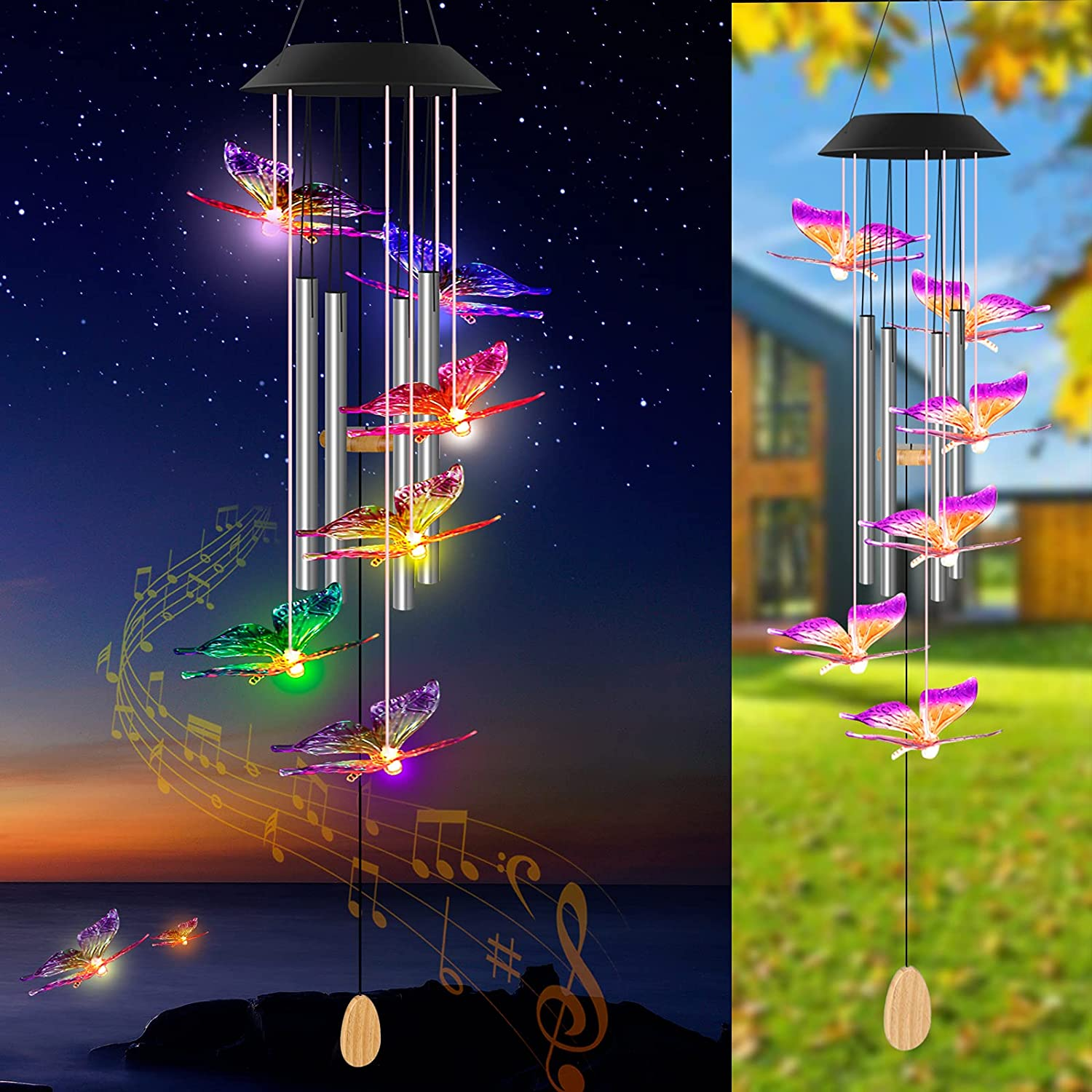 Solar Wind Chimes Outdoors, Waterproof Butterfly Solar Wind Chime Colors Changing Led Lights, Music Tubes and Wish Pendant, Butterflies Decor Gift for Women, Outdoor Decor for Garden Patio Party