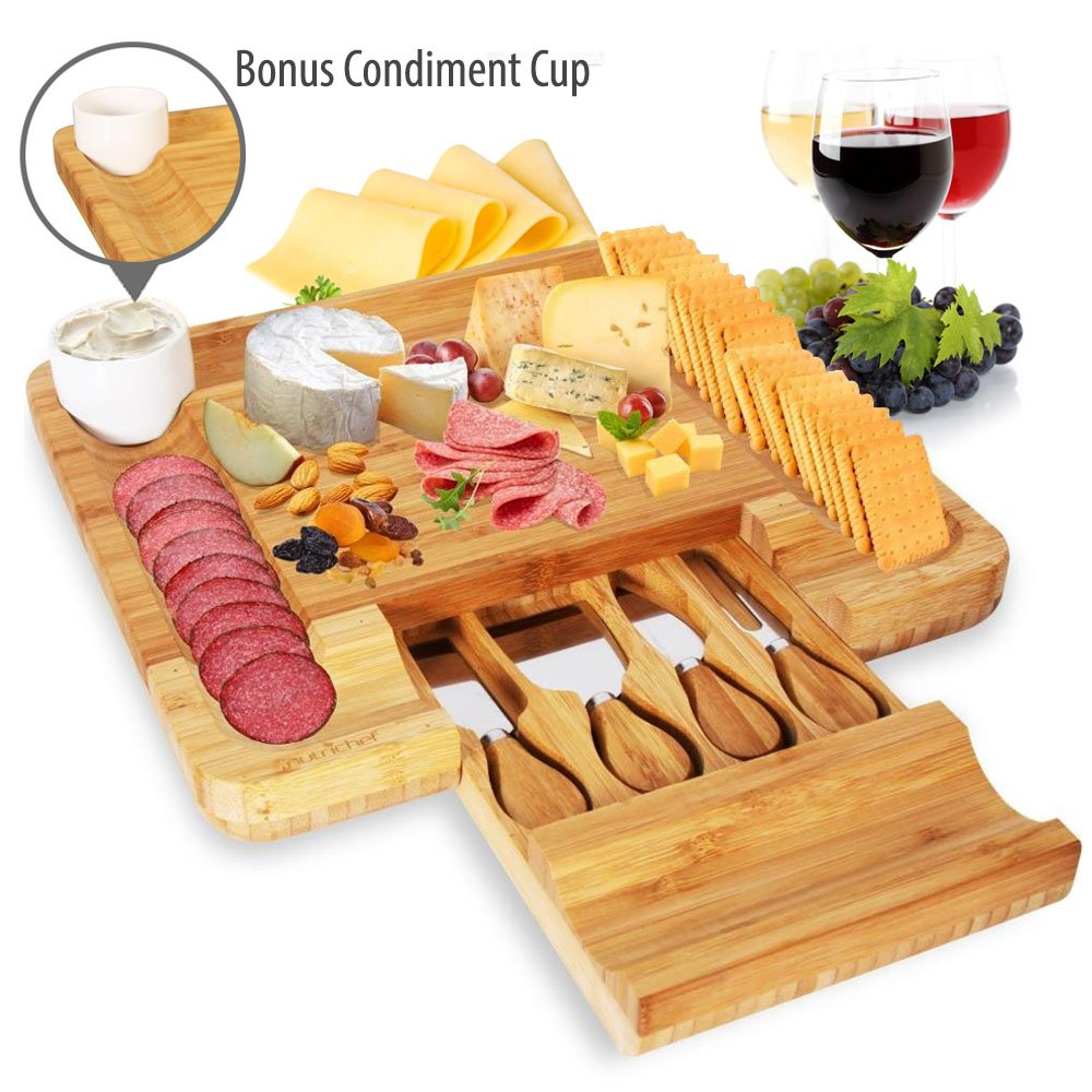Bamboo Cheese Cutting Board Set - Bonus Condiment Cup - Closing Drawer Tray, 4 Stainless Steel Knives - Flat Wood Rectangle Serving Platter Plate Kit for Fruit and Meat - NutriChef Sound Around PKCZBD10