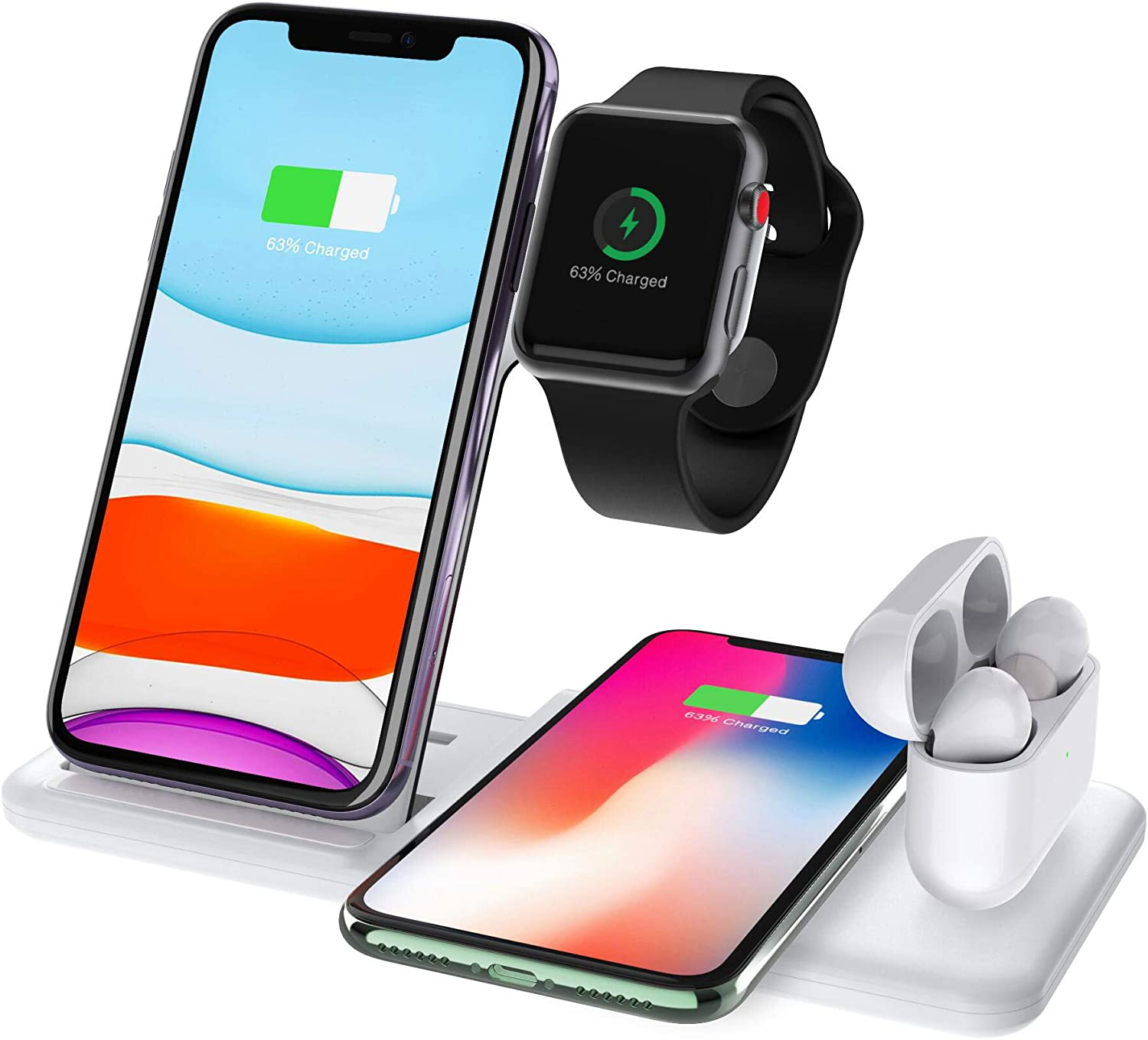 FDGAO Wireless Charger 15W Fast Wireless Charger Station 4 in 1 Charging for Apple Watch Airpods iPhone 1111proXXSXRXs Max88 Plus, Qi Wireless