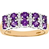 Revoni - 9ct Yellow Gold Ladies Diamond and Amethyst Ring