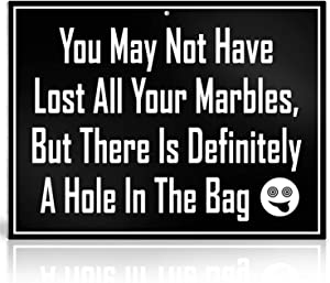 Bigtime Signs Sanity Marbles Sign – Lost All Your Marbles, Hole in The Bag Decor – PVC Plaque with Funny Saying - Wall, Kitchen, Home, Room Bedroom Decoration - 8x10 Inch (Marbles)