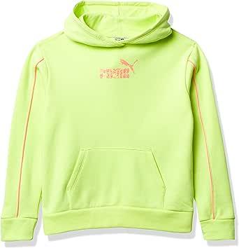 PUMA Girls' Pullover Hoodie, Bright Yellow, S