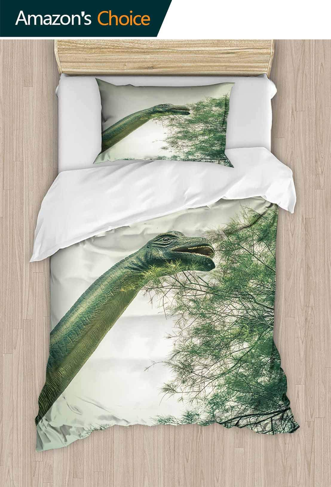 PRUNUSHOME Polyester Bedding Head Ancient Dinosaur on a Light Background Ultra Soft Hypoallergenic Full