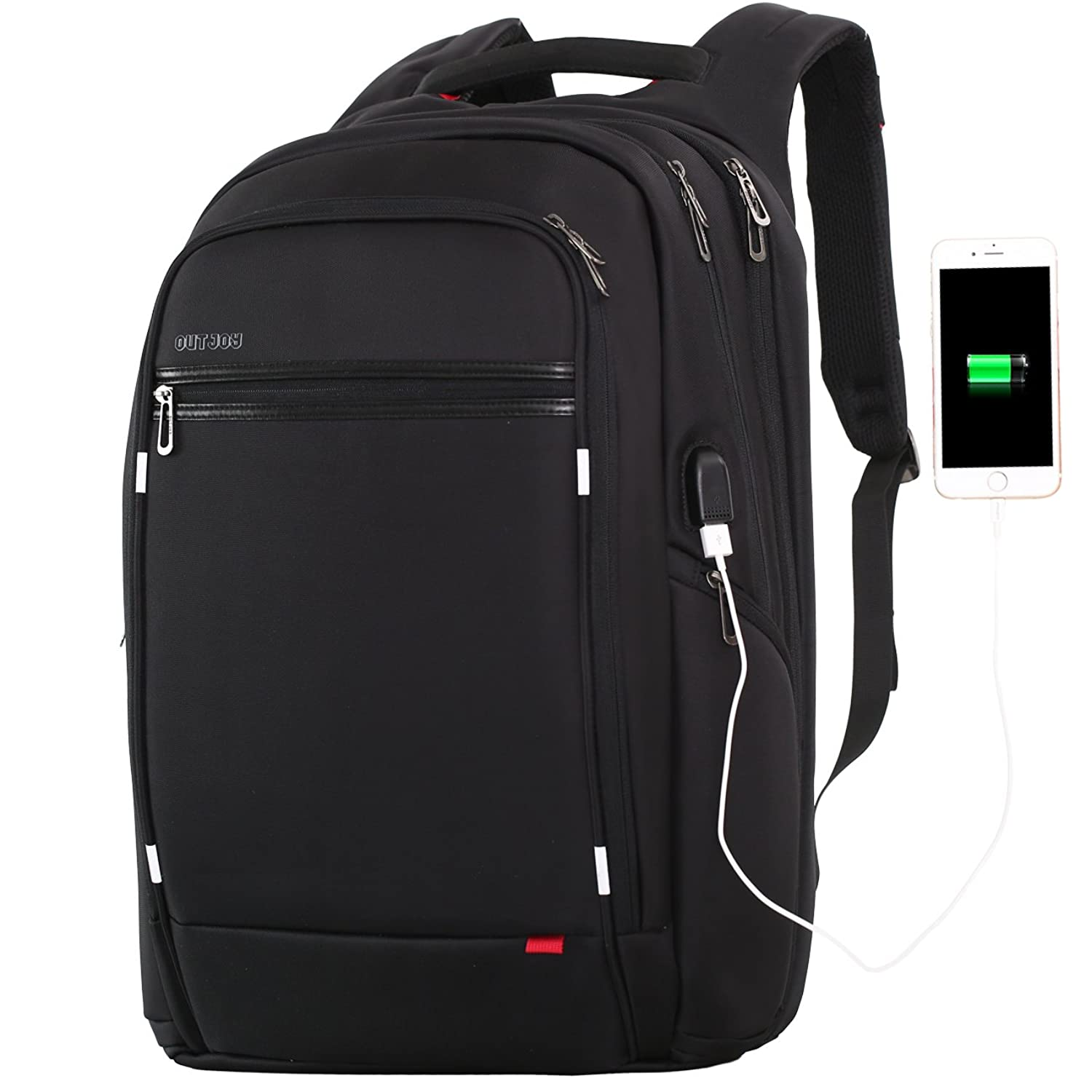17.3 18 inch Laptop Backpack for Men,Water Resistant Polyester Backpack with USB Charging Port,Large Bookbag College Backpack Travel bag Black Business Backpack fit 15.6 17.3 laptops by Outjoy