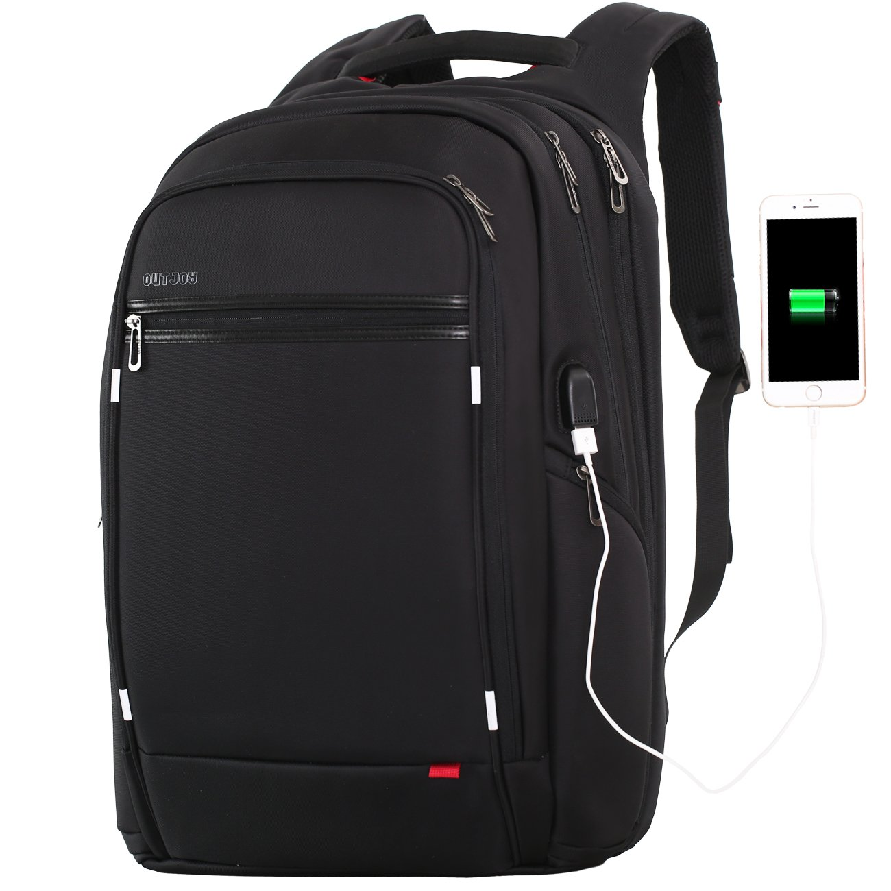 18 inch large Laptop Backpack for Men,Water Resistant Polyester Backpack with USB Charging Port,Large Bookbag College Backpack Travel bag Black Business Backpack fit 15.6 17.3 laptops by Outjoy by OUTJOY (Image #1)