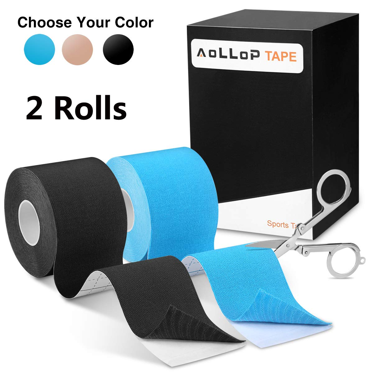2 Pack Aollop Kinesiology Tape with Free Folding Scissor- Best Pain Relief Elastic Therapeutic Sports Tape for Muscle Joint ,Plantar Fasciitis, Knee Shoulder,Waterproof,Latex Free,Uncut 2'' x 16.5 ft