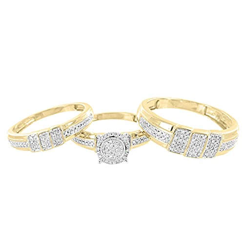 Juego de anillos de boda con diamantes de 0,51 quilates y anillo de ...
