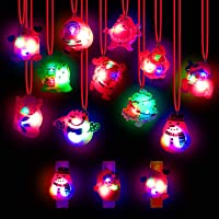 U-Goforst 24 Pieces Christmas LED Light Up Party Favor Toy Necklace Bracelet Wristband for Kids and Adults Flashing…