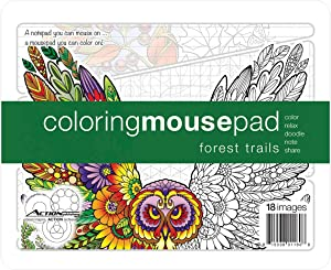 Action Coloring Mousepad • Forest Trails • Pages for Notes and Coloring with Illustrations by Kathryn Marlin