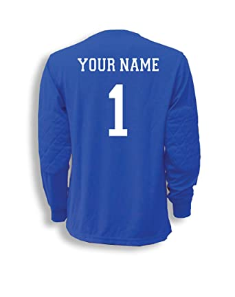 addb6daa0f2 Amazon.com: Soccer Goalkeeper Jersey personalized with your name and  number: Clothing