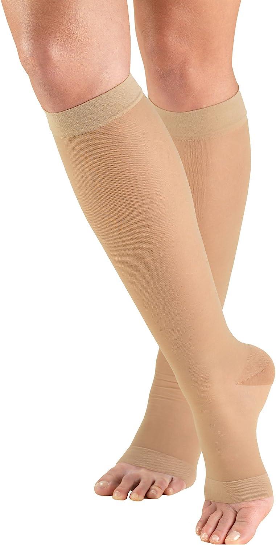 Truform Sheer Compression Stockings, 15-20 mmHg, Women's Knee High Length, Open Toe, 20 Denier, Nude, Medium