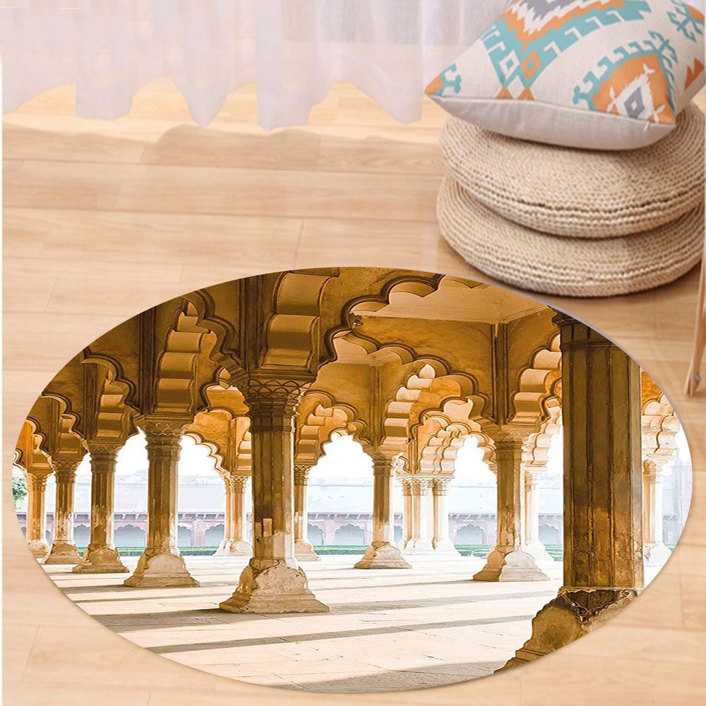 Niasjnfu Chen Custom carpetPillar Decor Historical Theme Gallery of Pillars at Agra Fort India Digital Image for Bedroom Living Room Dorm Light Coffee Beige