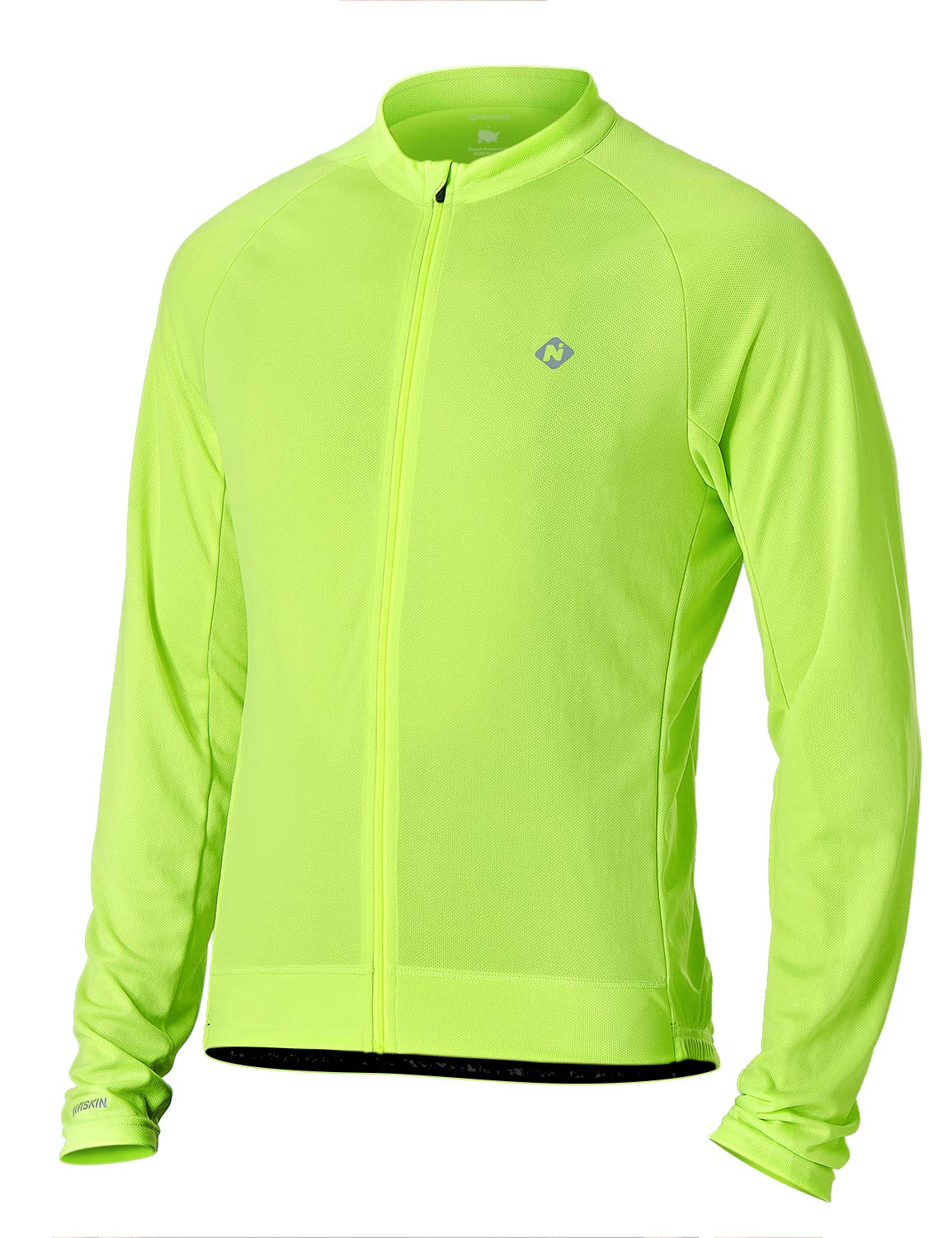 NAVISKIN Men's Quick Dry Bike Jersey Full Zip Long Sleeve Bicycle Cycling Jacket