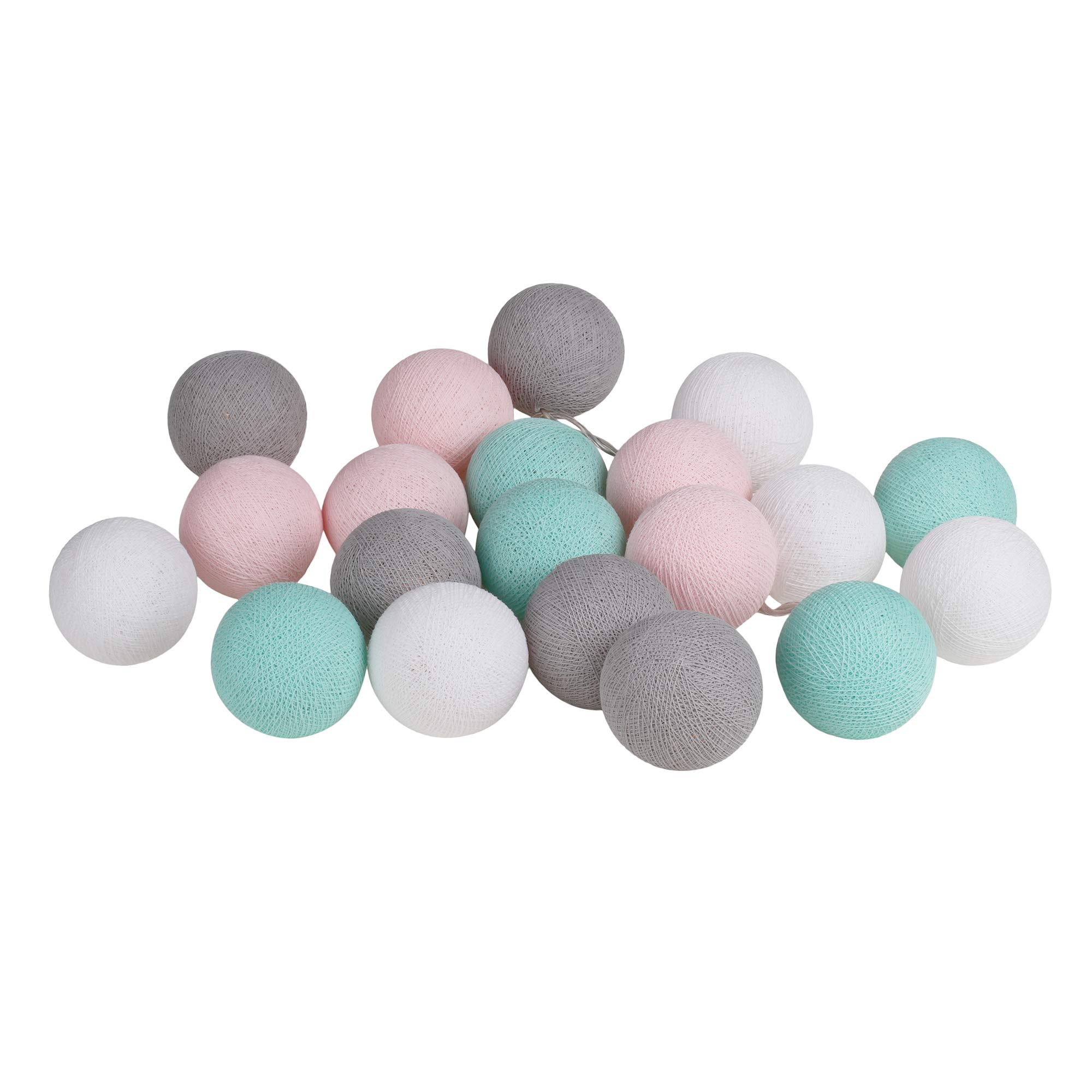 CHAINUPON 20 Cotton Ball String Fairy Night Lights Kid Bedroom Home Decor Boys Girls Plug in (Pink Gray Green)