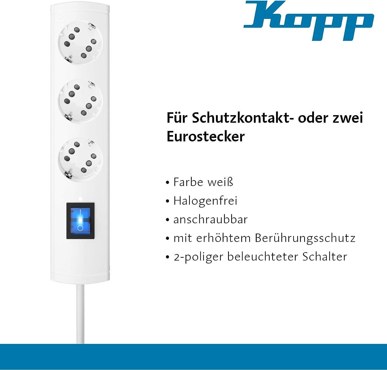 Kopp DUOversal 6-fach Steckdosenleiste 12-fach Euro-Stecker mit Schalter weiß 3m