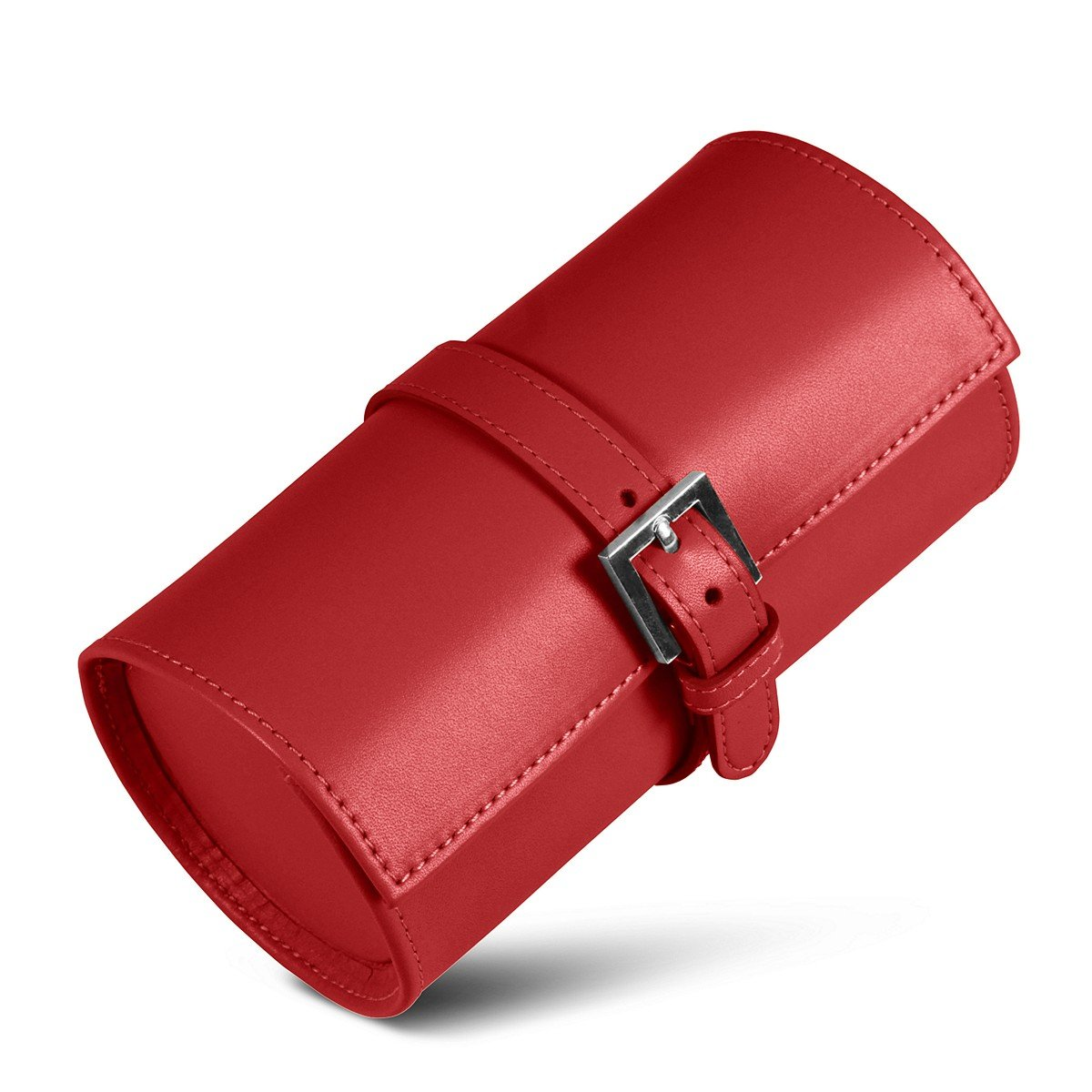 Lucrin - Round watches holder - Red - Smooth Leather