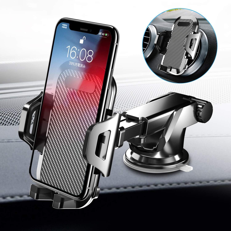 Seiaol Support de téléphone de voiture pour pare-brise et tableau de bord de voiture Support de téléphone pour grille d'aération de voiture pour iPhone X/8/7/6 Samsung S10