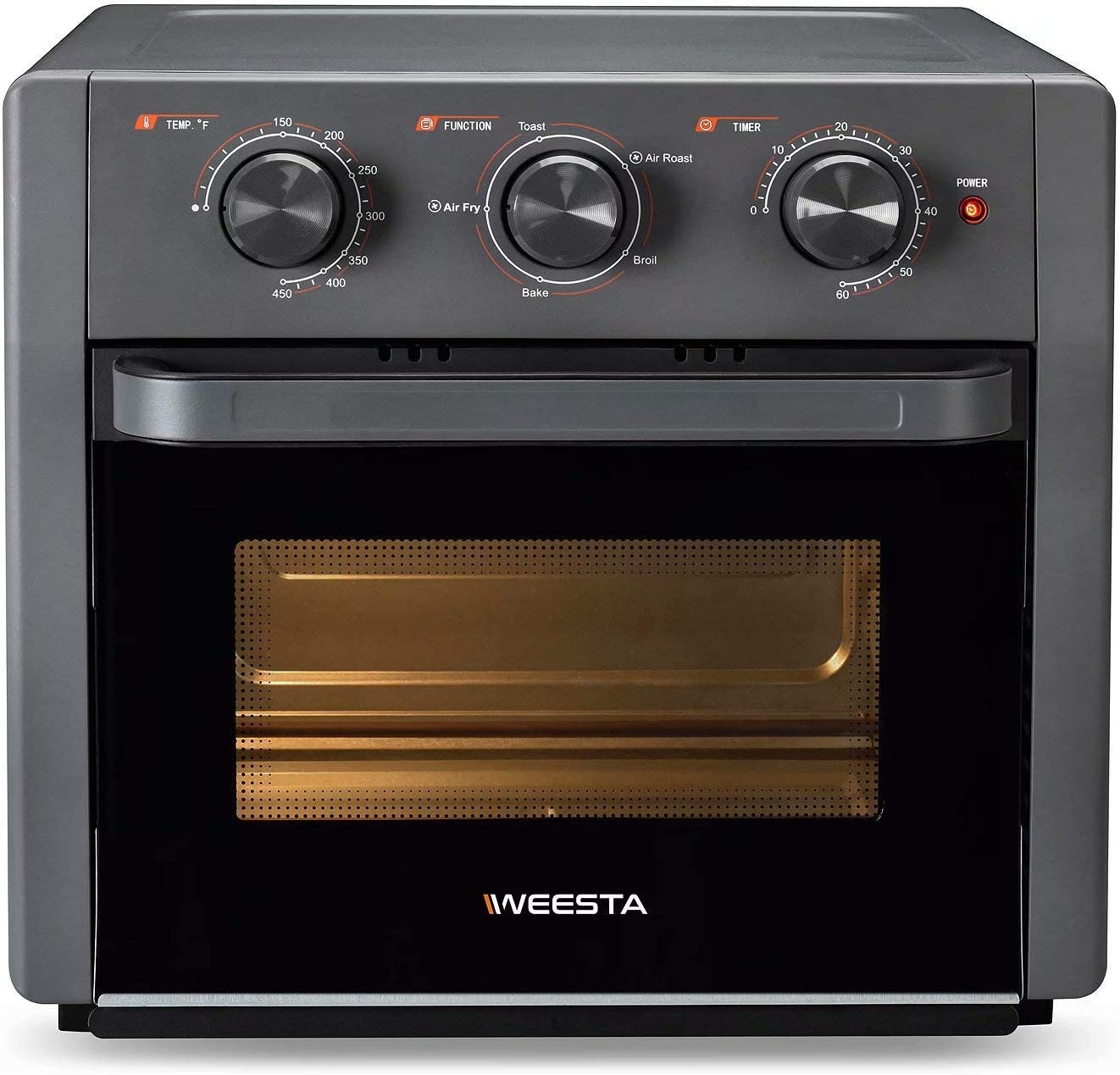 WEESTA 21Quart Air Fryer Toaster Oven Pro,5-IN-1 Countertop Convection Oven with Air Fry Air Roast Toast Broil Bake Function for Fried Chicken, Steak, Fries, Tater Tots, Chips, Bacon, Pizza, etc. (Renewed)