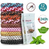 Nasharia Mückenschutz Armband, 12 Stück Mosquito Repellent Bracelet Wristband, natürlichen Anti Moskito mücken Armband für Kinder geeignet