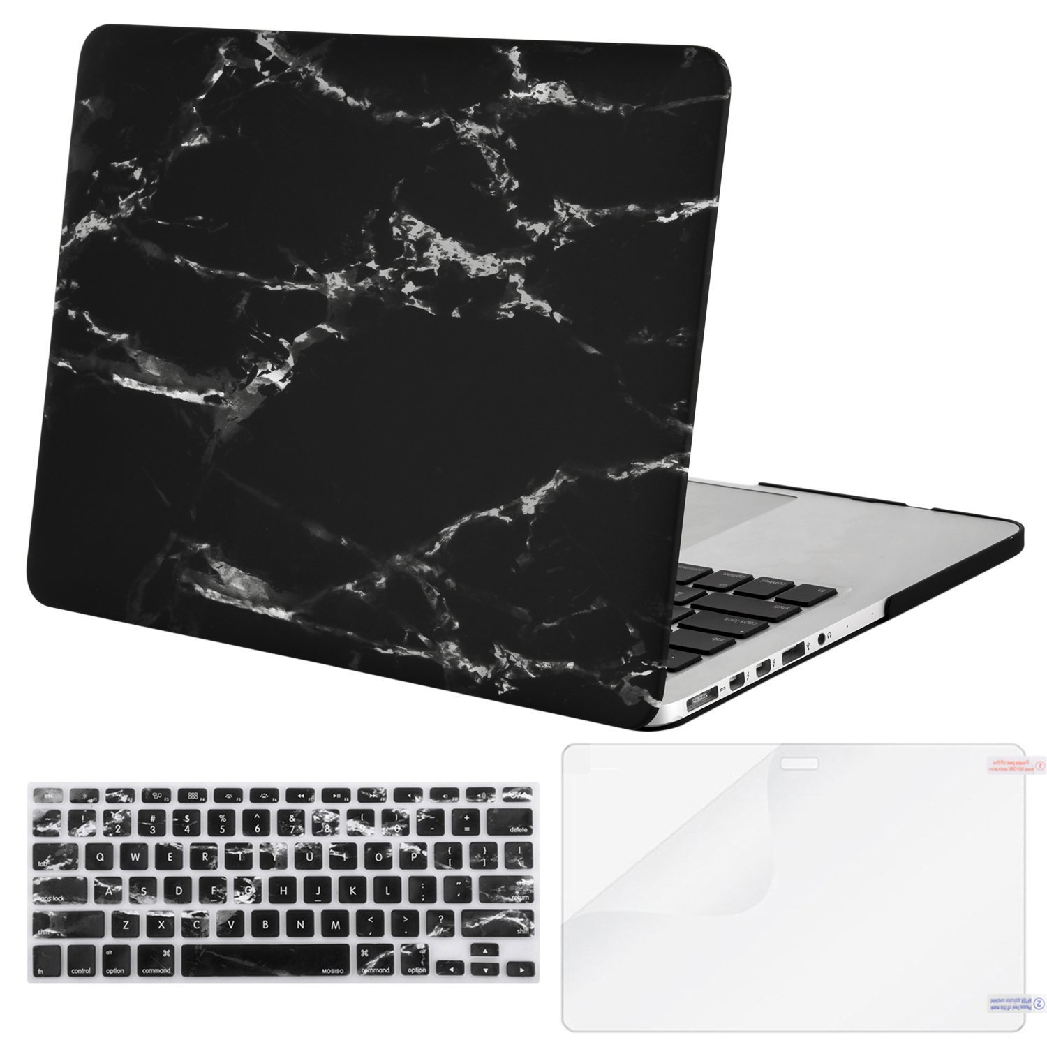 MOSISO Plastic Pattern Hard Case & Keyboard Cover & Screen Protector Only Compatible [Previous Generation] MacBook Pro (No USB-C) Retina 15 Inch (A1398, No CD-ROM), Black Marble