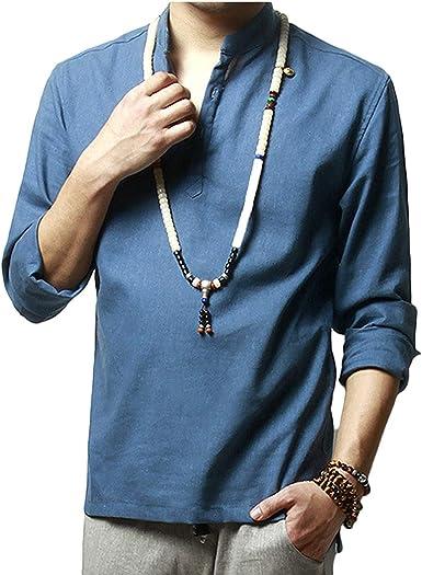 SWISSWELL Camisa de Lino de los Hombres Camisa de Manga Media Camisa de Manga Corta con Cuello Holgado Informal Camiseta de Manga Larga con Cuello Mao: Amazon.es: Ropa y accesorios