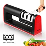 Kitchen Knife Sharpener,3-Stage Knife Sharpening Tool,Extra Grinding Head Included,Sharpens Dull Knives Effectively(Black) By Focuksy