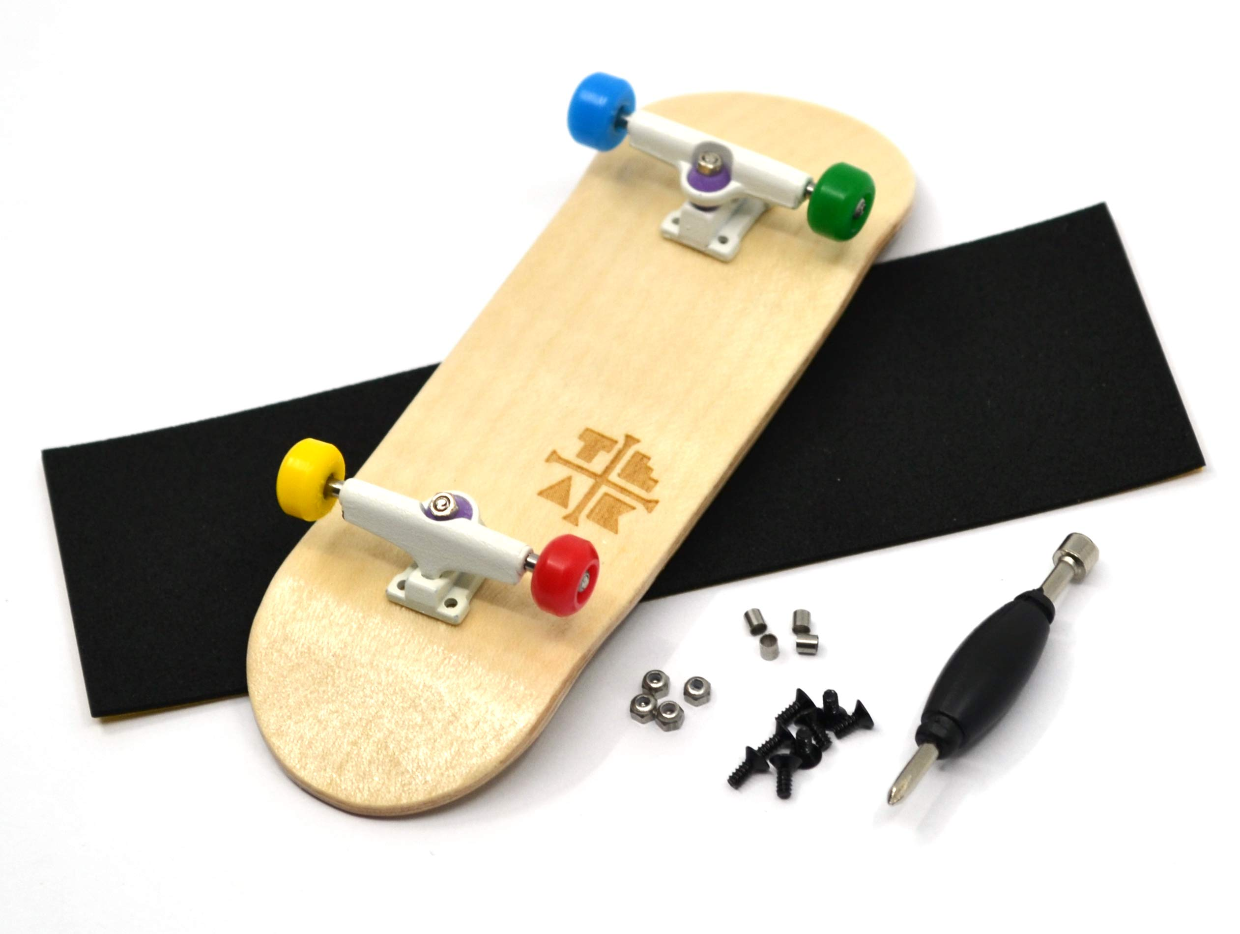 PROlific Complete Fingerboard with Upgraded Components - Pro Board Shape and Size, Bearing Wheels, Trucks, and Locknuts - 32mm x 97mm Handmade Wooden Board - Everything is Awesome Edition by Teak Tuning
