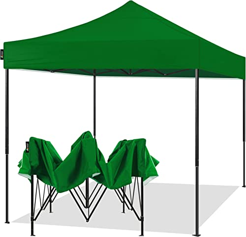 AMERICAN PHOENIX 10×10 Pop Up Canopy Tent Portable Instant Adjustable Easy Up Tent Outdoor Market Canopy Shelter 10 x10 Black Frame , Green