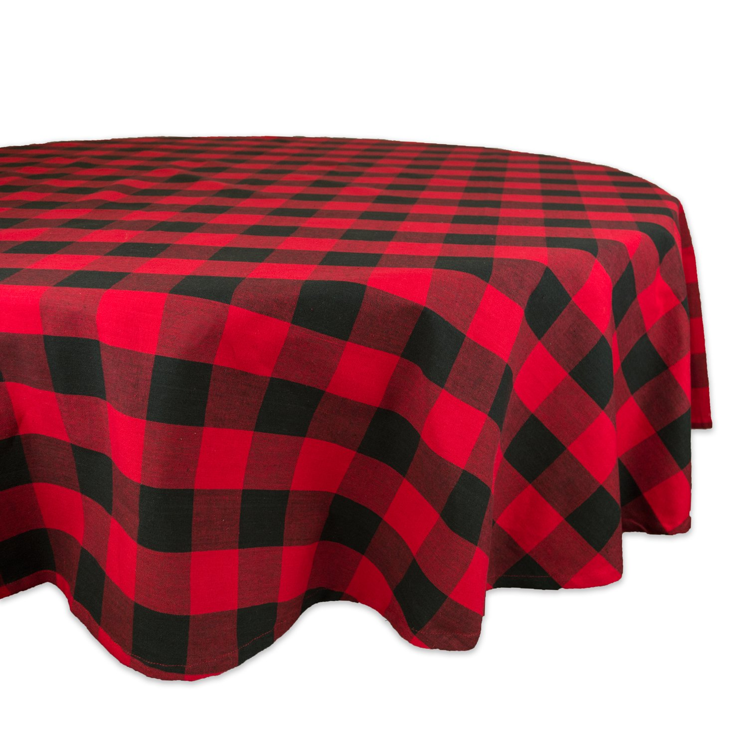 """DII Cotton Buffalo Check Plaid Round Tablecloth for Family Dinners or Gatherings, Indoor or Outdoor Parties, & Everyday Use (70x70"""",Seats 4-6 People), Red & Black"""